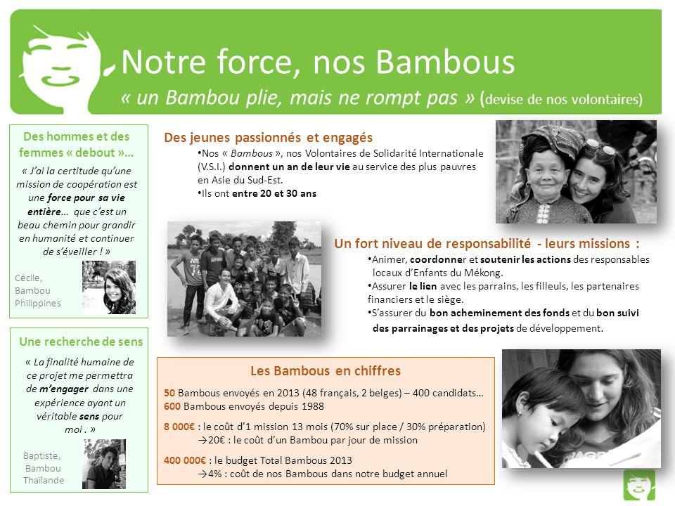 Notre force, nos Bambous « un Bambou plie, mais ne rompt pas » ( devise de nos volontaires) Des jeunes passionnés et engagés Nos « Bambous », nos Volontaires de Solidarité Internationale (V.S.I.) donnent un an de leur vie au service des plus pauvres en Asie du Sud-Est.