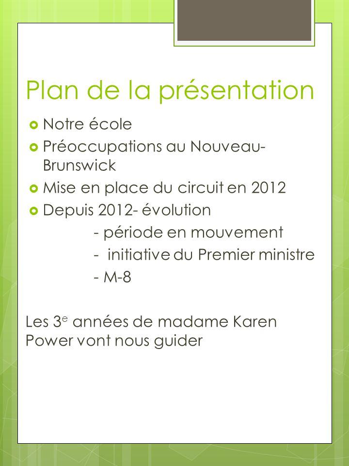 Plan de la présentation  Notre école  Préoccupations au Nouveau- Brunswick  Mise en place du circuit en 2012  Depuis 2012- évolution - période en mouvement - initiative du Premier ministre - M-8 Les 3 e années de madame Karen Power vont nous guider