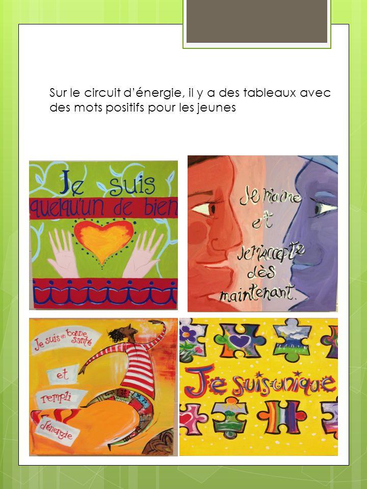Sur le circuit d'énergie, il y a des tableaux avec des mots positifs pour les jeunes