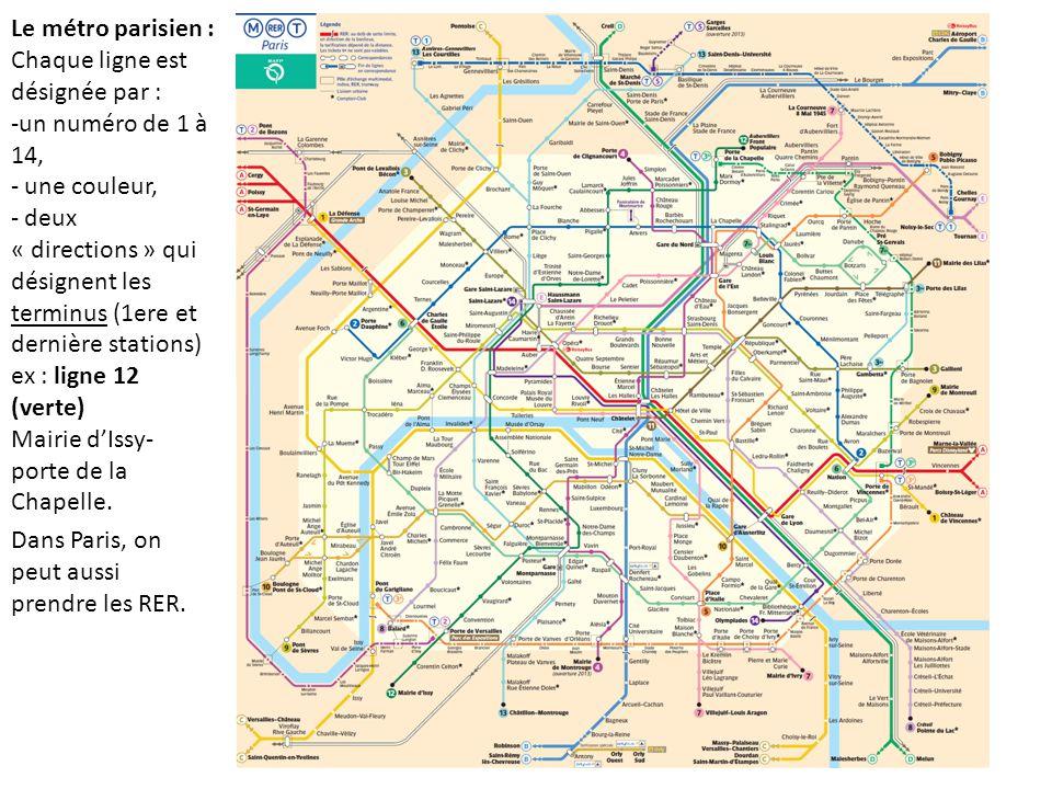 Le métro parisien : Chaque ligne est désignée par : -un numéro de 1 à 14, - une couleur, - deux « directions » qui désignent les terminus (1ere et dernière stations) ex : ligne 12 (verte) Mairie d'Issy- porte de la Chapelle.