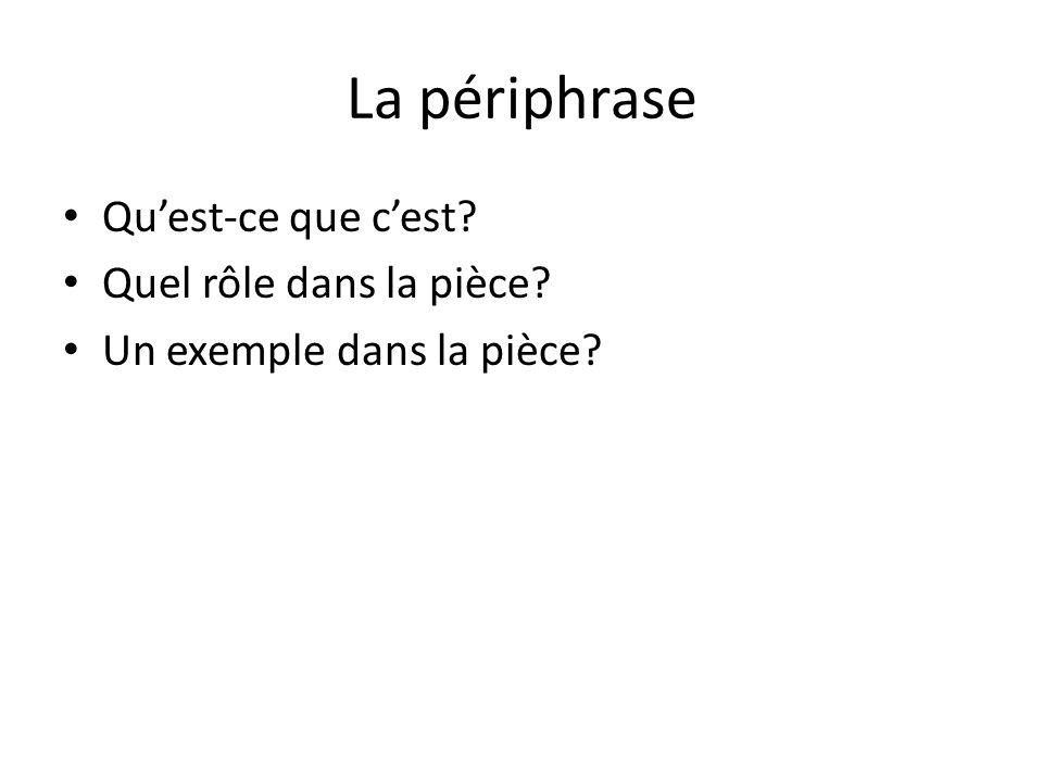 La périphrase Qu'est-ce que c'est? Quel rôle dans la pièce? Un exemple dans la pièce?