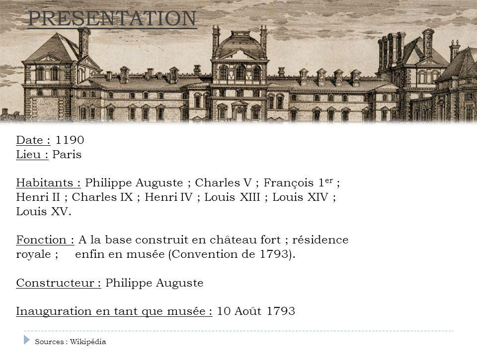 PRESENTATION Date : 1190 Lieu : Paris Habitants : Philippe Auguste ; Charles V ; François 1 er ; Henri II ; Charles IX ; Henri IV ; Louis XIII ; Louis
