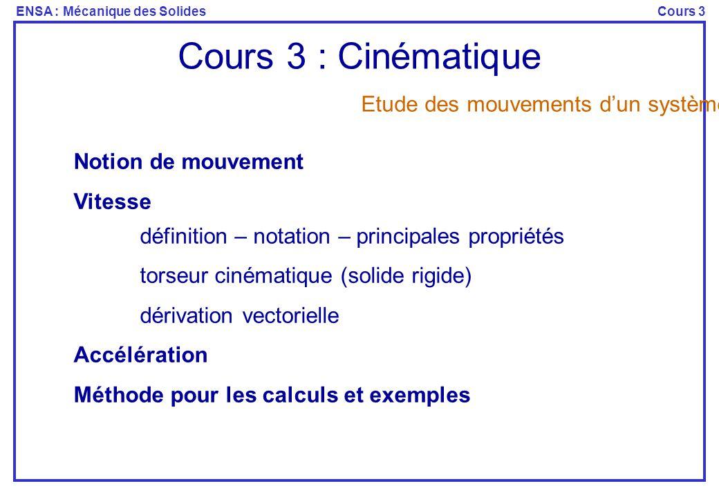 ENSA : Mécanique des SolidesCours 3 Cours 3 : Cinématique Notion de mouvement Vitesse définition – notation – principales propriétés torseur cinématiq