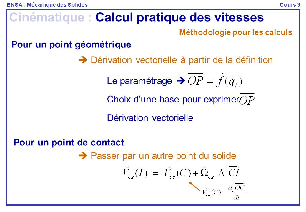 ENSA : Mécanique des SolidesCours 3 Méthodologie pour les calculs Pour un point géométrique  Dérivation vectorielle à partir de la définition Pour un