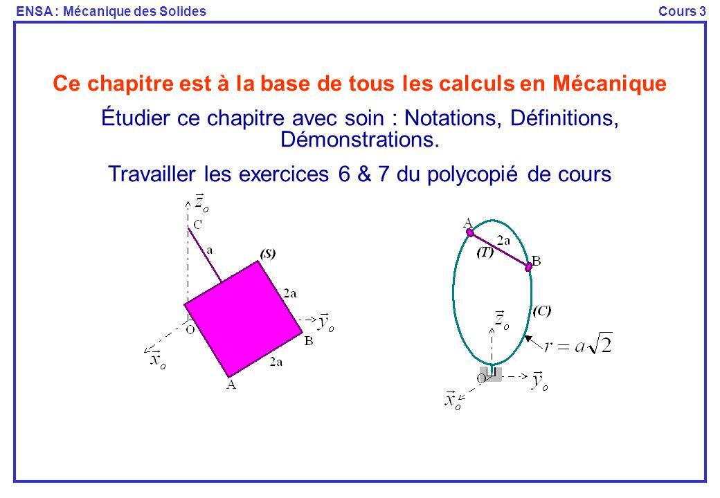 ENSA : Mécanique des SolidesCours 3 Ce chapitre est à la base de tous les calculs en Mécanique Étudier ce chapitre avec soin : Notations, Définitions,