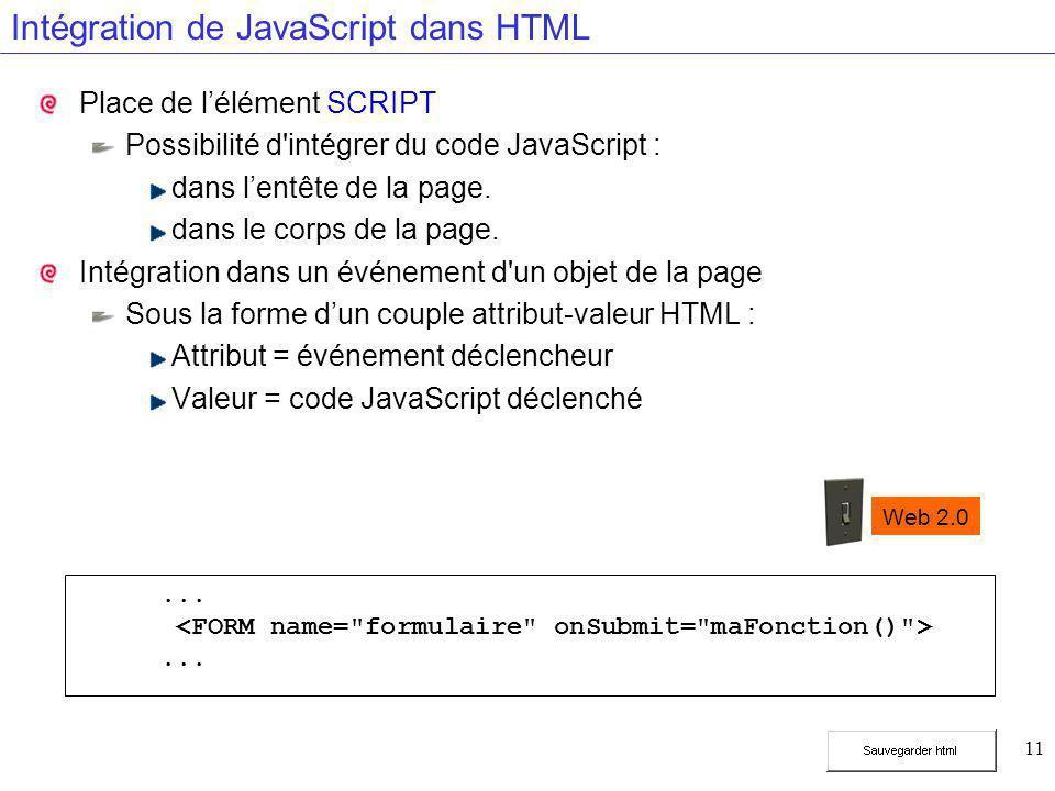 11 Intégration de JavaScript dans HTML Place de l'élément SCRIPT Possibilité d'intégrer du code JavaScript : dans l'entête de la page. dans le corps d