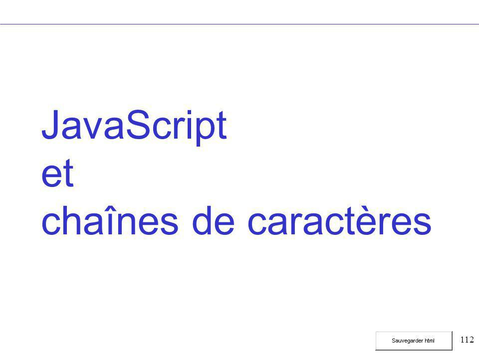 112 JavaScript et chaînes de caractères