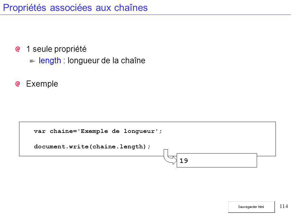114 Propriétés associées aux chaînes 1 seule propriété length : longueur de la chaîne Exemple var chaine= Exemple de longueur ; document.write(chaine.length); 19