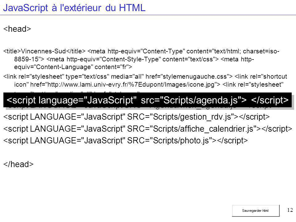 12 JavaScript à l'extérieur du HTML Vincennes-Sud
