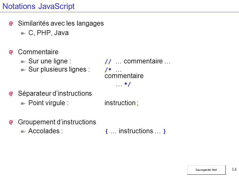 14 Notations JavaScript Similarités avec les langages C, PHP, Java Commentaire Sur une ligne : // … commentaire … Sur plusieurs lignes : /* … commentaire … */ Séparateur d'instructions Point virgule :instruction ; Groupement d'instructions Accolades : { … instructions … }