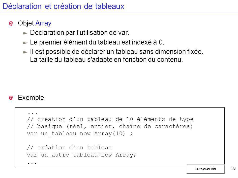 19 Déclaration et création de tableaux Objet Array Déclaration par l'utilisation de var. Le premier élément du tableau est indexé à 0. Il est possible