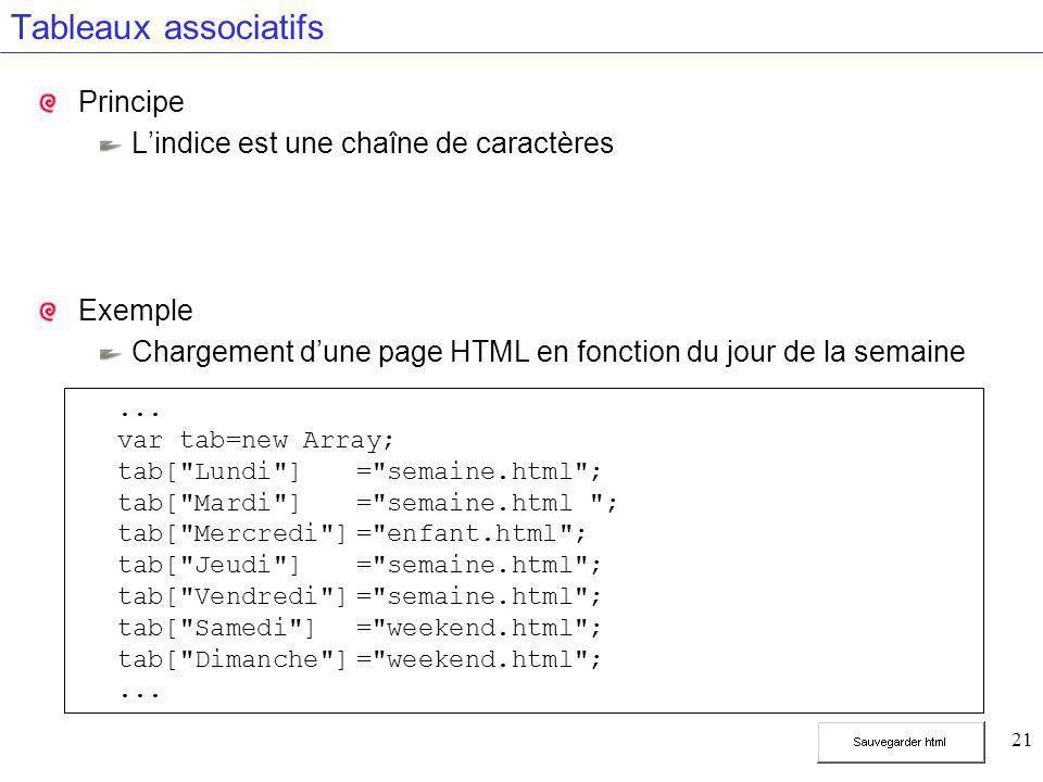 21 Tableaux associatifs Principe L'indice est une chaîne de caractères Exemple Chargement d'une page HTML en fonction du jour de la semaine... var tab