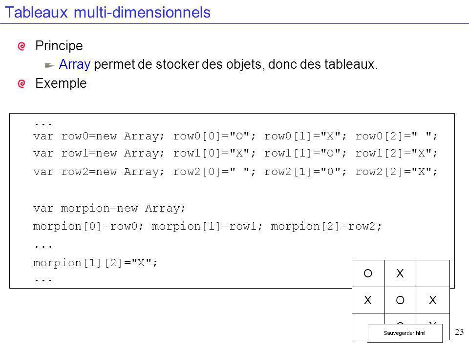 23 Tableaux multi-dimensionnels Principe Array permet de stocker des objets, donc des tableaux. Exemple... var row0=new Array; row0[0]=