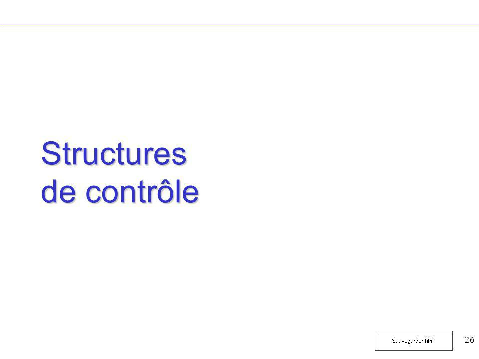 26 Structures de contrôle
