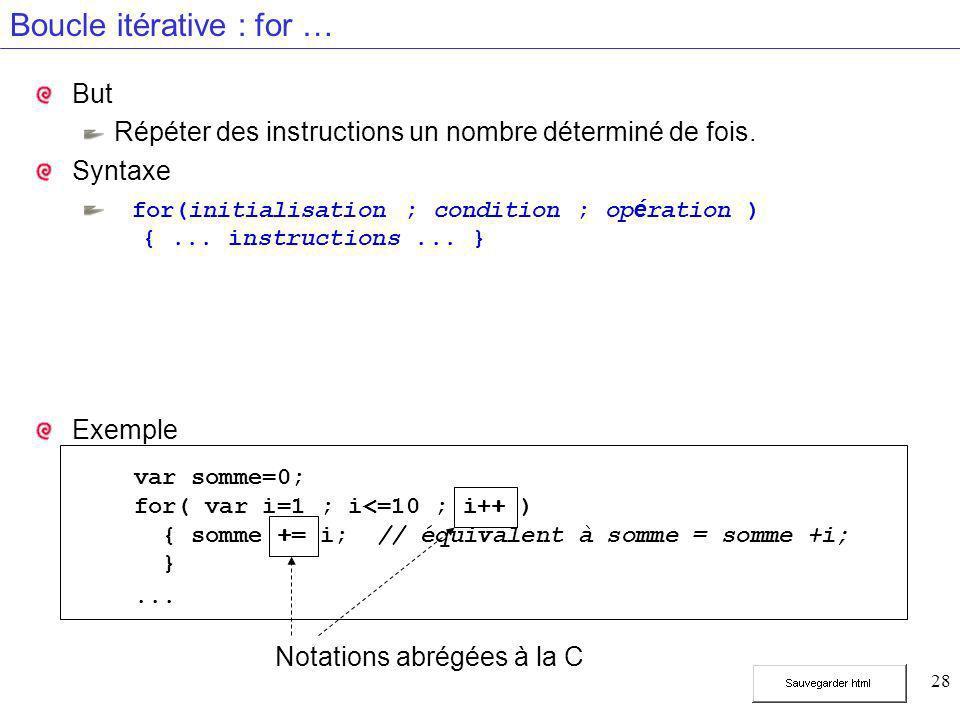 28 Boucle itérative : for … But Répéter des instructions un nombre déterminé de fois.