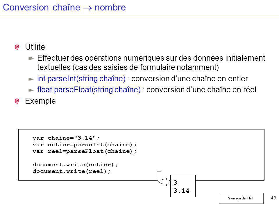 45 Conversion chaîne  nombre Utilité Effectuer des opérations numériques sur des données initialement textuelles (cas des saisies de formulaire notamment) int parseInt(string chaîne) : conversion d'une chaîne en entier float parseFloat(string chaîne) : conversion d'une chaîne en réel Exemple var chaine= 3.14 ; var entier=parseInt(chaine); var reel=parseFloat(chaine); document.write(entier); document.write(reel); 3 3.14