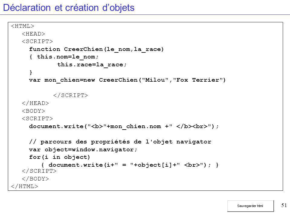 51 Déclaration et création d'objets function CreerChien(le_nom,la_race) { this.nom=le_nom; this.race=la_race; } var mon_chien=new CreerChien( Milou , Fox Terrier ) document.write( +mon_chien.nom + ); // parcours des propriétés de l objet navigator var object=window.navigator; for(i in object) { document.write(i+ = +object[i]+ ); }