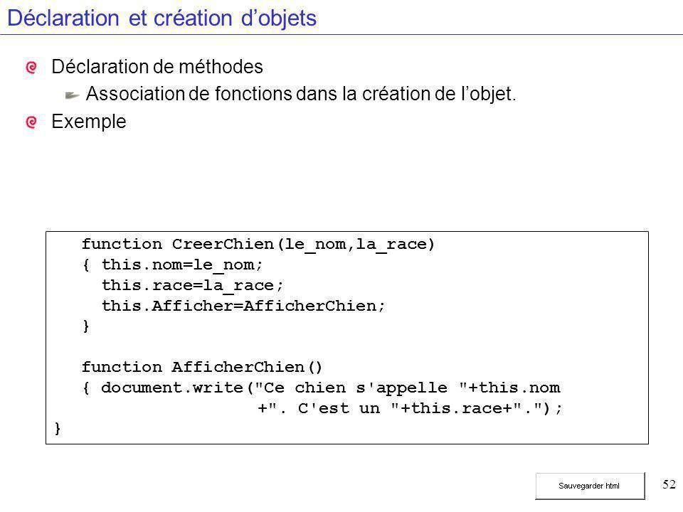 52 Déclaration et création d'objets Déclaration de méthodes Association de fonctions dans la création de l'objet. Exemple function CreerChien(le_nom,l