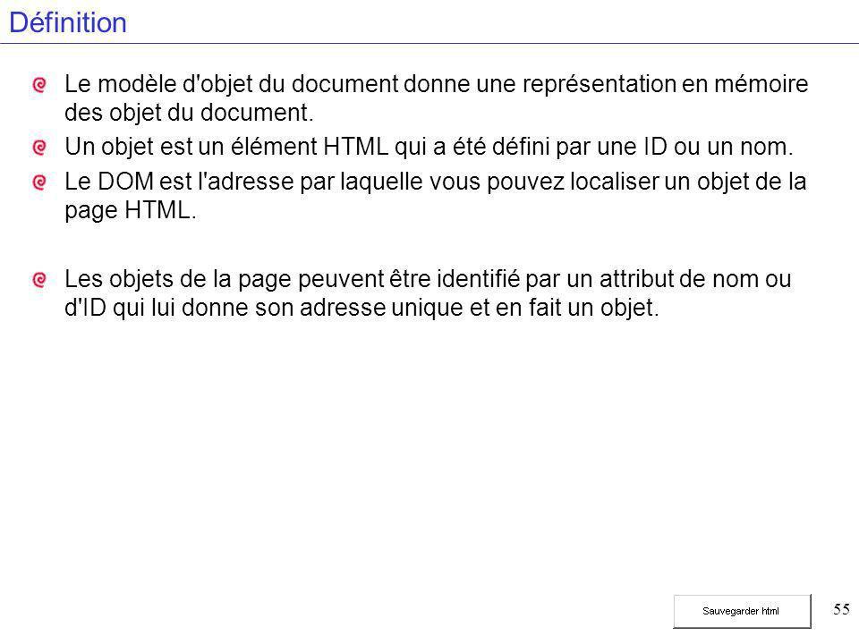 55 Définition Le modèle d'objet du document donne une représentation en mémoire des objet du document. Un objet est un élément HTML qui a été défini p