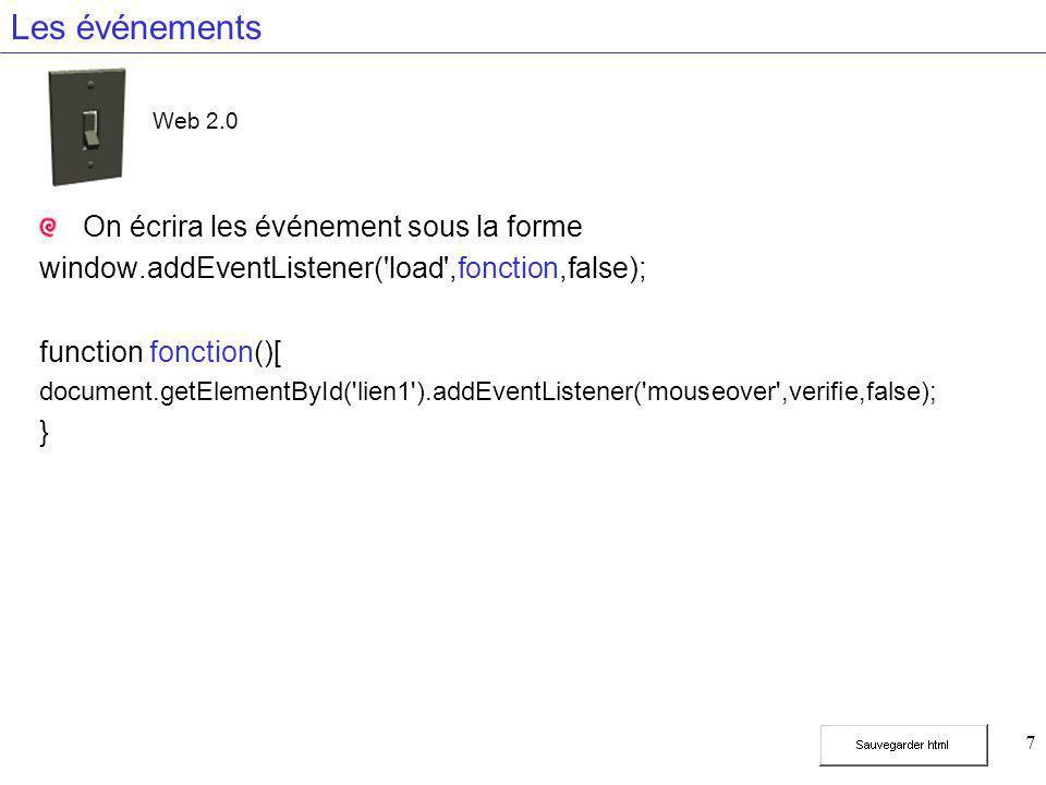 7 Les événements On écrira les événement sous la forme window.addEventListener('load',fonction,false); function fonction()[ document.getElementById('l