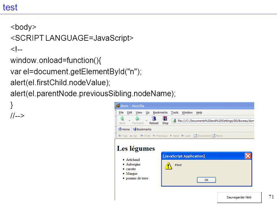 71 test <!-- window.onload=function(){ var el=document.getElementById( n ); alert(el.firstChild.nodeValue); alert(el.parentNode.previousSibling.nodeName); } //-->