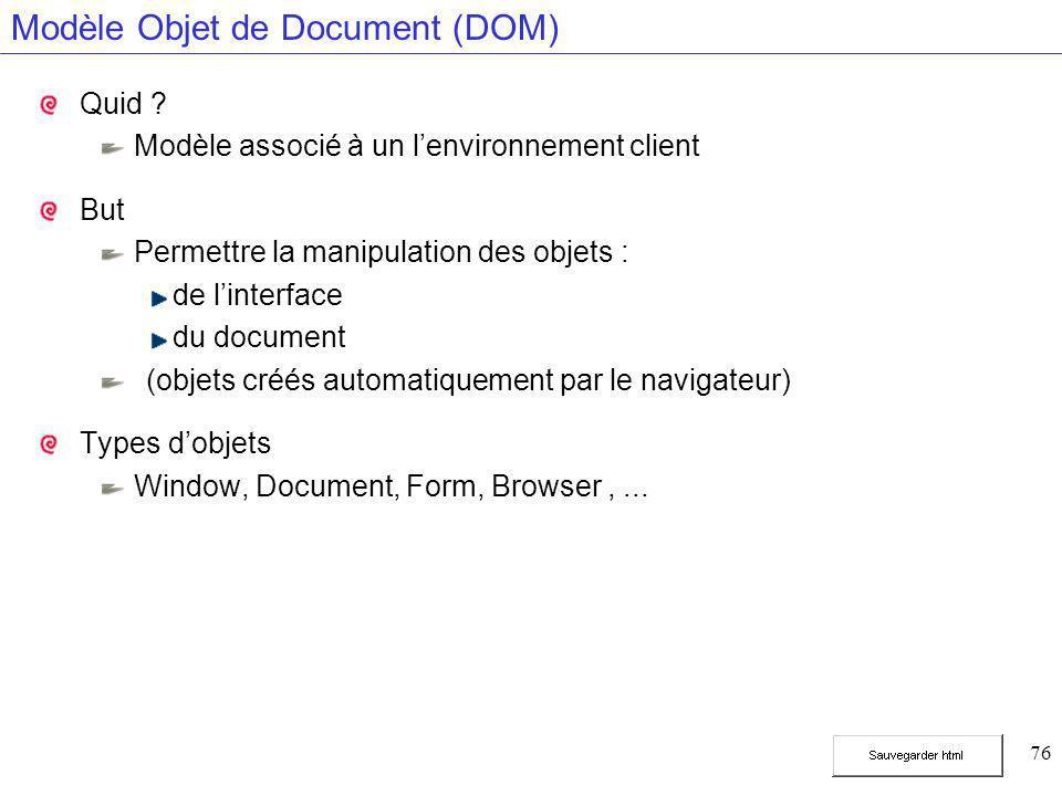 76 Modèle Objet de Document (DOM) Quid ? Modèle associé à un l'environnement client But Permettre la manipulation des objets : de l'interface du docum