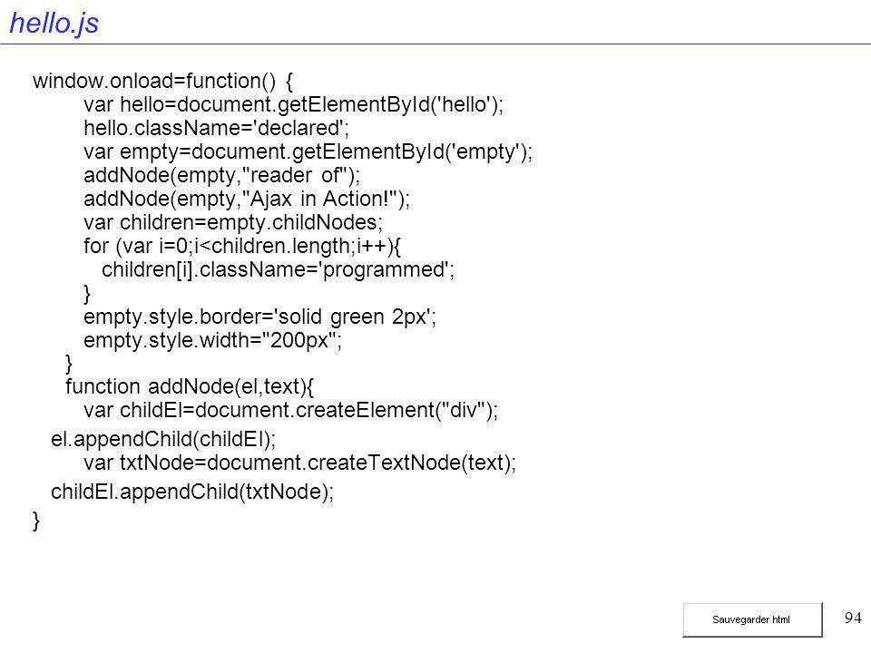 94 hello.js window.onload=function() { var hello=document.getElementById('hello'); hello.className='declared'; var empty=document.getElementById('empt