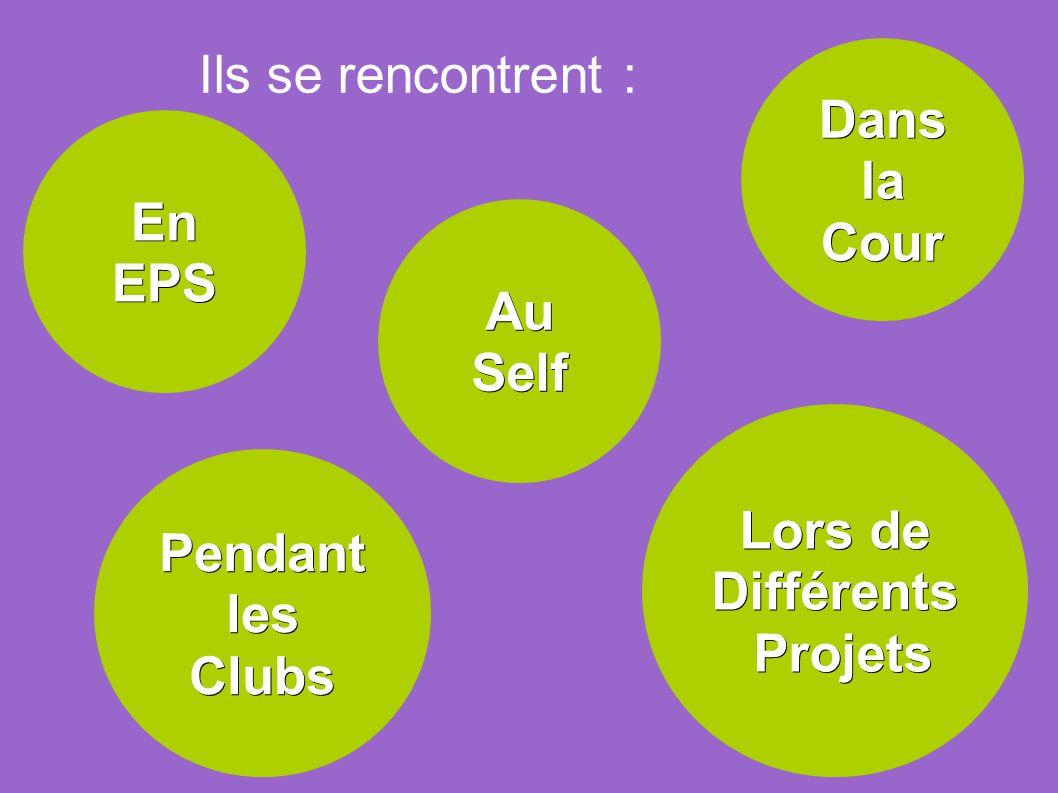 En EPS Dans la Cour Au Self Pendant les Clubs Lors de Différents Projets Projets Ils se rencontrent :