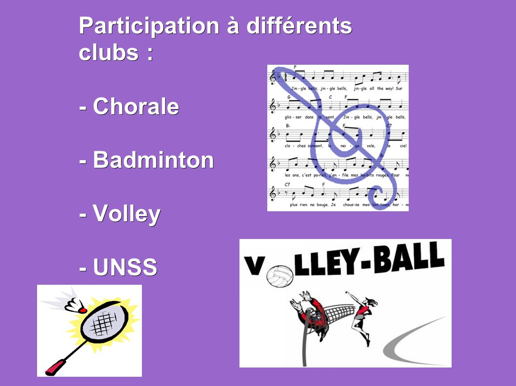Participation à différents clubs : - Chorale - Badminton - Volley - UNSS