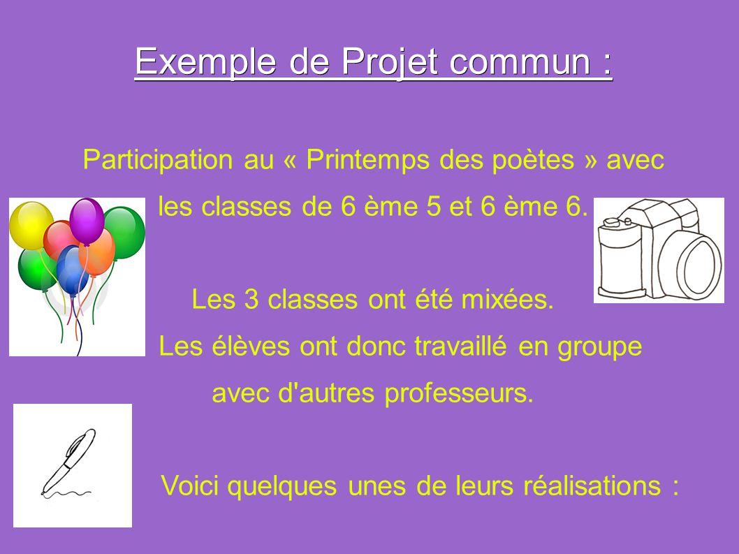 Exemple de Projet commun : Participation au « Printemps des poètes » avec les classes de 6 ème 5 et 6 ème 6. Les 3 classes ont été mixées. Les élèves
