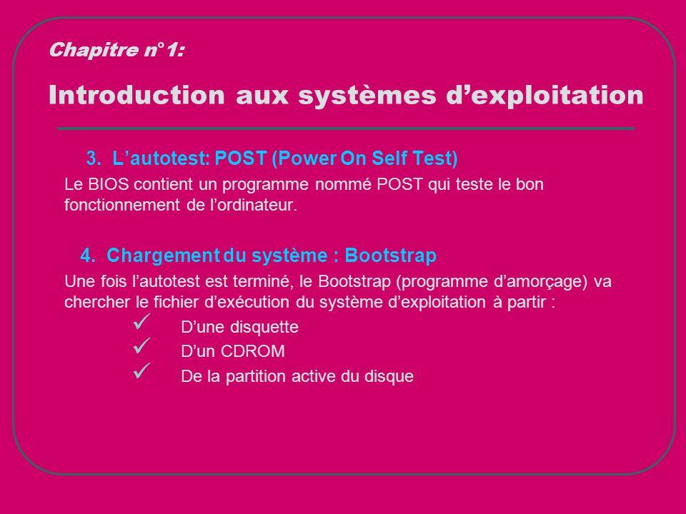 Introduction aux systèmes d'exploitation 3. L'autotest: POST (Power On Self Test) Le BIOS contient un programme nommé POST qui teste le bon fonctionne