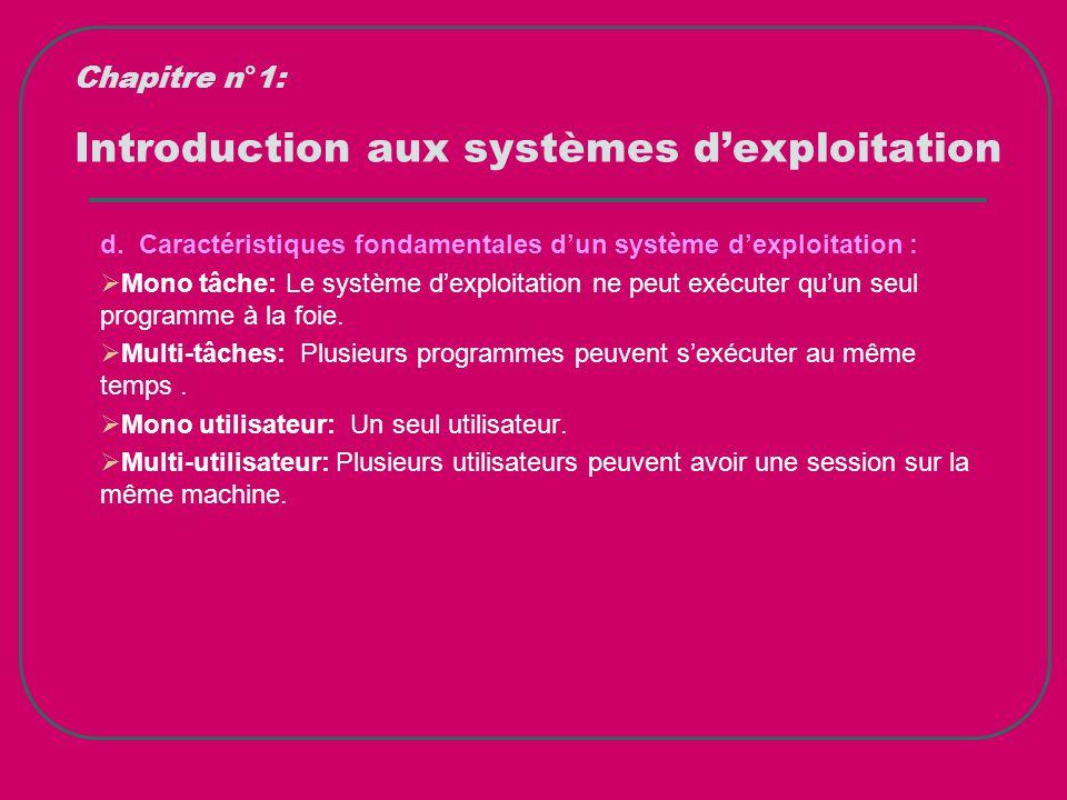 Introduction aux systèmes d'exploitation d. Caractéristiques fondamentales d'un système d'exploitation :  Mono tâche: Le système d'exploitation ne pe
