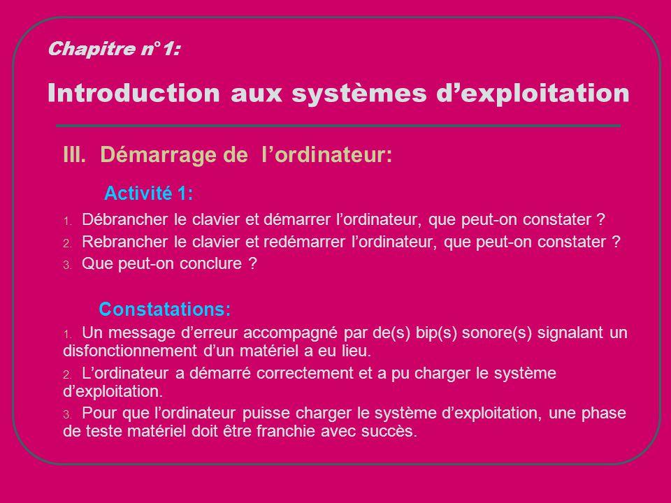 Introduction aux systèmes d'exploitation III. Démarrage de l'ordinateur: Activité 1: 1. Débrancher le clavier et démarrer l'ordinateur, que peut-on co