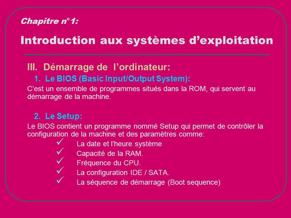 Introduction aux systèmes d'exploitation III. Démarrage de l'ordinateur: 1. Le BIOS (Basic Input/Output System): C'est un ensemble de programmes situé