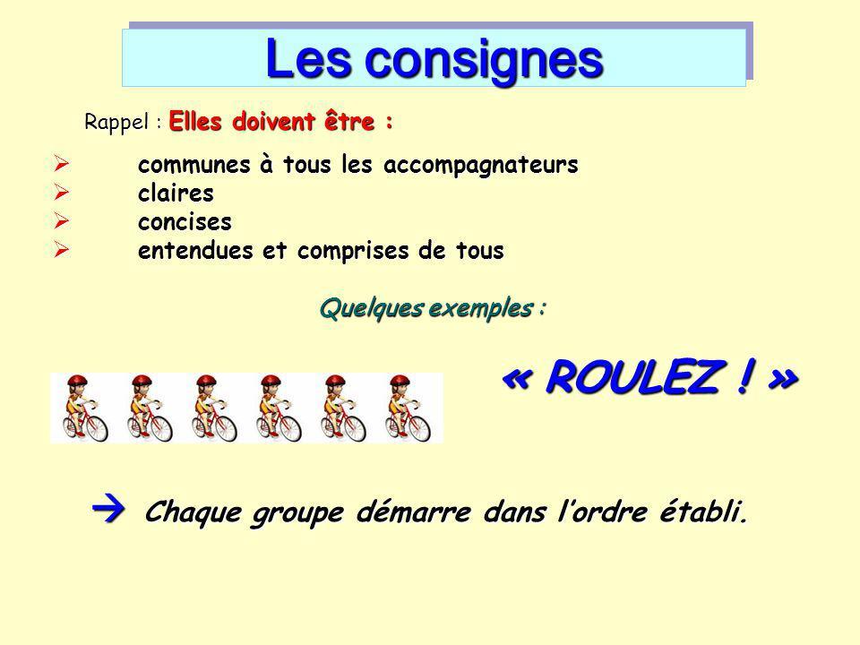 Les consignes Rappel : Elles doivent être :  communes à tous les accompagnateurs  claires  concises  entendues et comprises de tous Quelques exemp