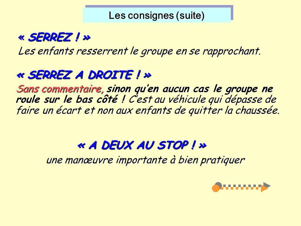 Les consignes (suite) « A DEUX AU STOP ! »  une manœuvre importante à bien pratiquer « SERREZ ! » Les enfants resserrent le groupe en se rapprochant.
