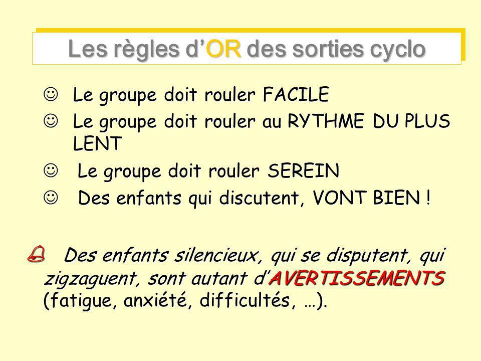 Les règles d'OR des sorties cyclo Le groupe doit rouler FACILE Le groupe doit rouler FACILE Le groupe doit rouler au RYTHME DU PLUS LENT Le groupe doi