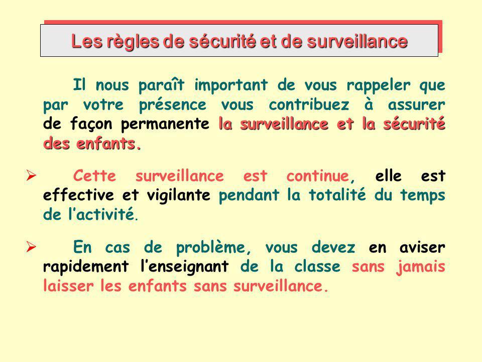 Les règles de sécurité et de surveillance la surveillance et la sécurité des enfants. Il nous paraît important de vous rappeler que par votre présence