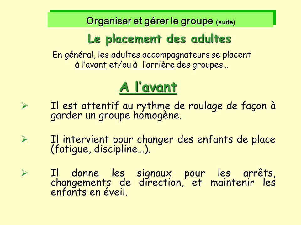 Organiser et gérer le groupe (suite) Le placement des adultes En général, les adultes accompagnateurs se placent à l'avant et/ou à l'arrière des group