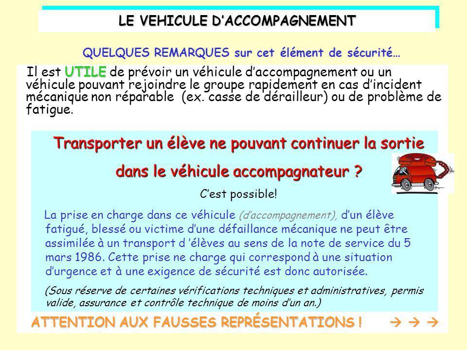 UTILE Il est UTILE de prévoir un véhicule d'accompagnement ou un véhicule pouvant rejoindre le groupe rapidement en cas d'incident mécanique non répar