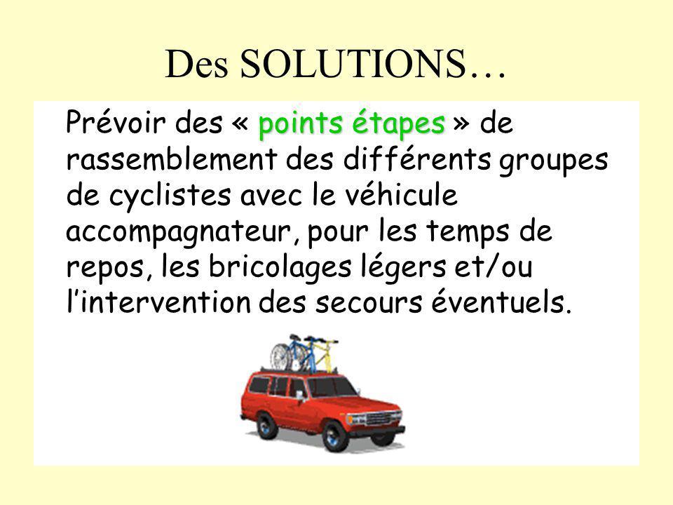 Des SOLUTIONS… points étapes Prévoir des « points étapes » de rassemblement des différents groupes de cyclistes avec le véhicule accompagnateur, pour
