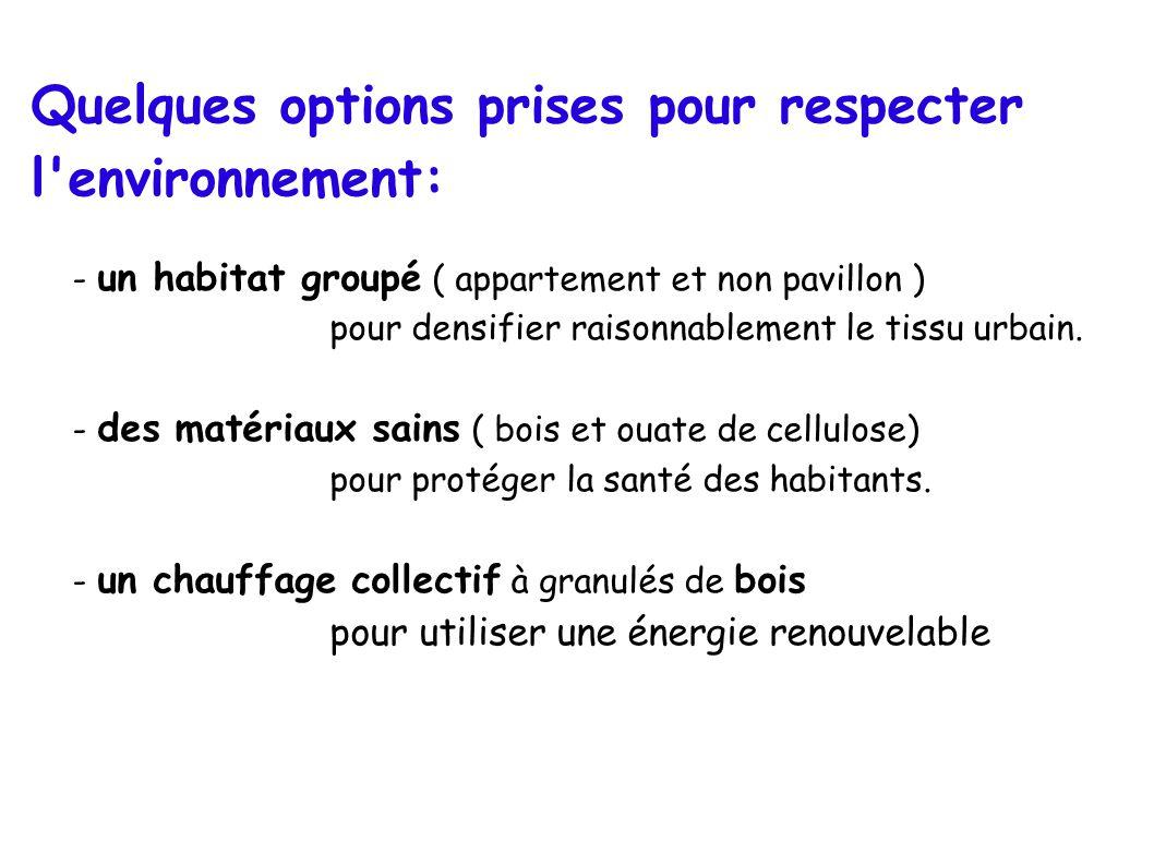Quelques options prises pour respecter l environnement: - un habitat groupé ( appartement et non pavillon ) pour densifier raisonnablement le tissu urbain.