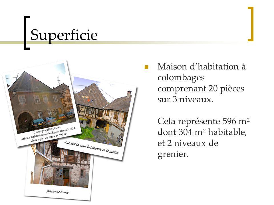 Superficie Maison d'habitation à colombages comprenant 20 pièces sur 3 niveaux.