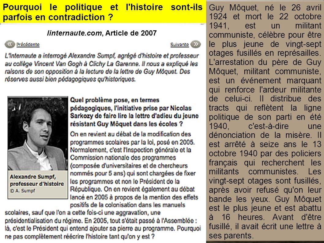 Guy Môquet, né le 26 avril 1924 et mort le 22 octobre 1941, est un militant communiste, célèbre pour être le plus jeune de vingt-sept otages fusillés