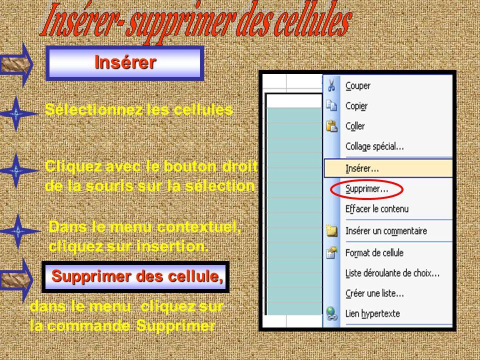 Couleur du remplissage de cellule : Sélectionnez une cellule puis choisissez une couleur de police Cliquez sur une cellule, puis sur « Couleur de remp
