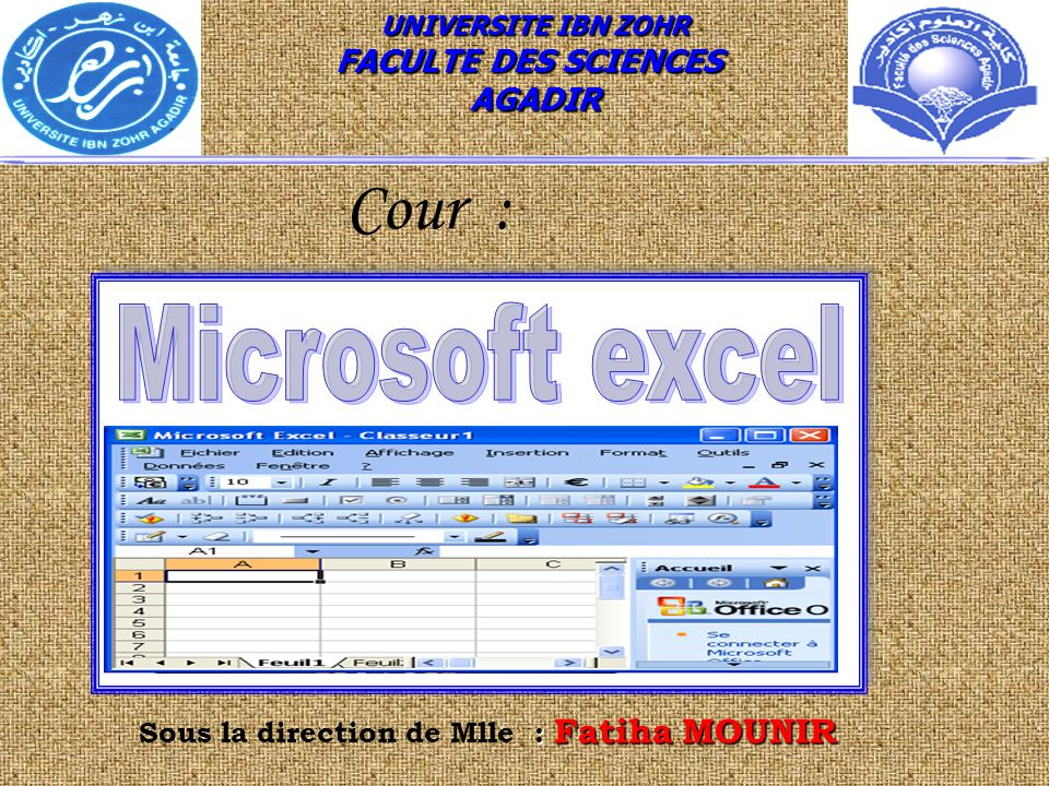 : Fatiha MOUNIR Sous la direction de Mlle : Fatiha MOUNIR UNIVERSITE IBN ZOHR FACULTE DES SCIENCES AGADIR Cour :