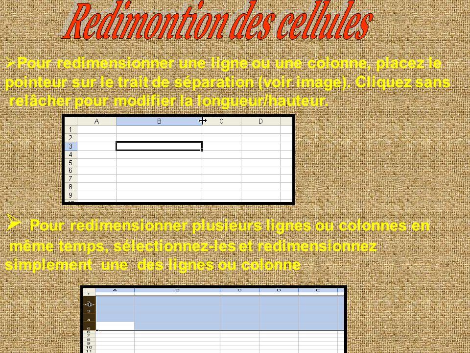 Sélectionnez les cellules Cliquez avec le bouton droit de la souris sur la sélection Dans le menu contextuel, cliquez sur insertion. dans le menu cliq