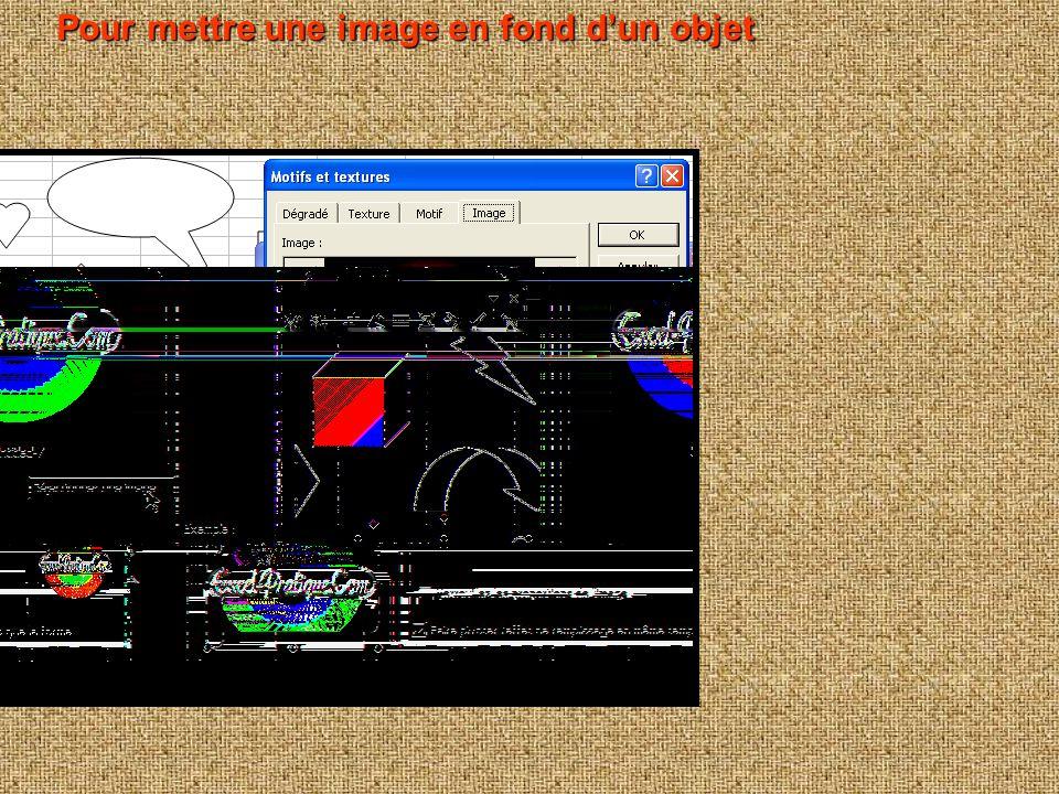 Pour modifier la couleur Pour modifier la couleur Pour obtenir un remplissage avec texture, motif, image ou en dégradé, cliquez sur « Motifs et textur