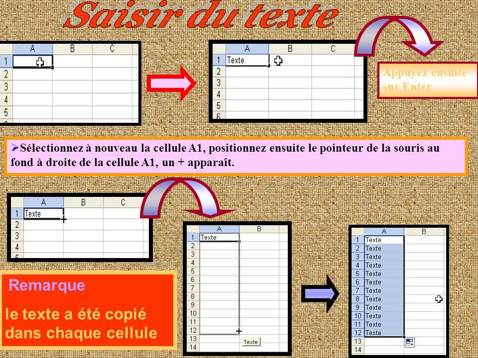 La souris Le contenu de la cellule Trois feuilles Démarrer pointez sur la commande Tous les programmes puis Microsoft Office, Microsoft Exel 2003. Nom