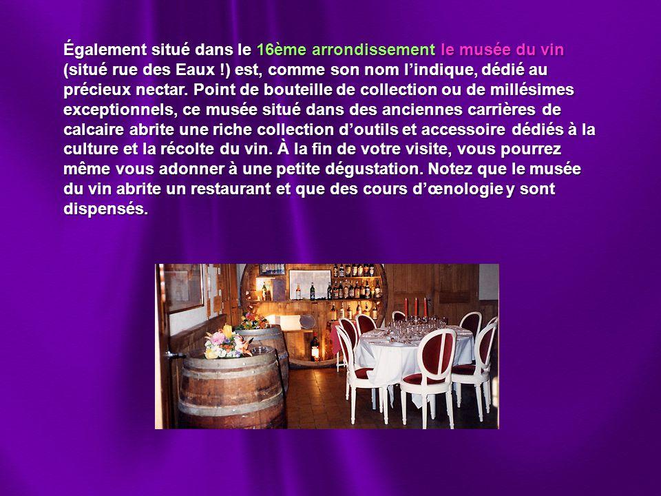 Également situé dans le 16ème arrondissement le musée du vin (situé rue des Eaux !) est, comme son nom l'indique, dédié au précieux nectar.
